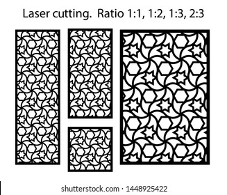 Cnc template set. Laser pattern. Set of geometric decorative vector panels for laser cutting.