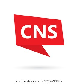 CNS (central nervous system) acronym on a speach bubble- vector illustration