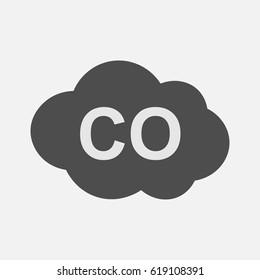 CO icon, carbon monoxide formula symbol, vector illustration.