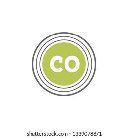 CO  Initial Handwriting logo template vector