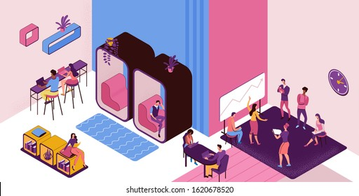 Co working space with private phone booth, conversation room, individual workspace, freelancer working on laptop, modern office people, graphic vector illustration