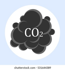 CO2 carbon dioxide cloud carbonic acid gas icon flat design isolated on white circle background