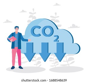 co2, carbon dioxide emissions. cloud, arrows down CO2, teacher, Vector illustration for web banner, infographics, mobile