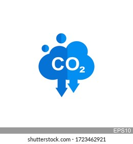 co2, carbon dioxide emissions icon on white background.vector illustration