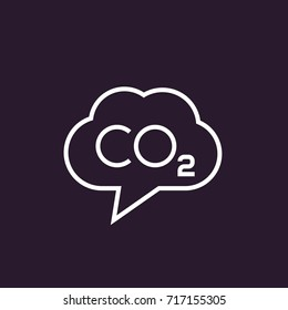co2, carbon dioxide emissions vector linear icon