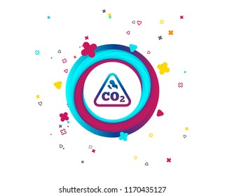 CO2 carbon dioxide formula sign icon. Chemistry symbol. Colorful button with icon. Geometric elements. Vector