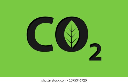 CO2 carbon dioxide logo vector icon isolated on green background.