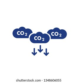 co2, carbon emissions reduction on white background, vector line icon EPS 10