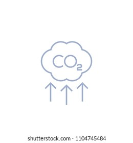 co2, carbon emissions reduction vector line icon