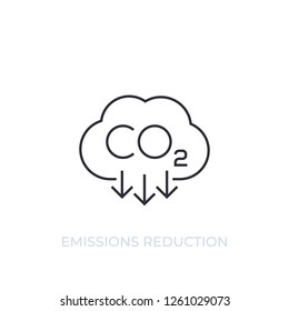 co2, carbon emissions reduction, vector line icon