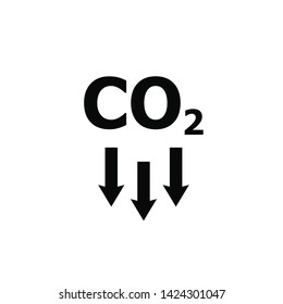 co2, carbon emissions reduction vector line icon on white
