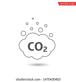 CO2 cloud icon. Carbon emissions reduction, Vector illustration