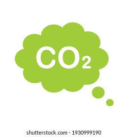 Co2 cloud vector icon. Speech bubble co2 green ecological cloud isolated. Carbon dioxide emissions sign on white background. Vector illustration.