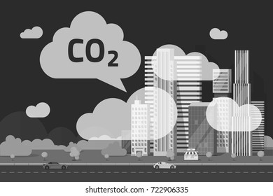 CO2 emissions by big city vector illustration, flat cartoon urban scene and carbon dioxide emission or pollution clouds by town, smoke or smog, ecology problem