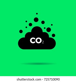 Co2 emissions icon cloud vector flat greenhouse