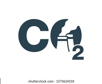 CO2 emissions icon - harmful air carbon contamination emblem with smoking cooling towers inside O letter - isolated vector eco sign