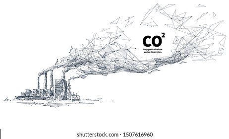 CO2 emissions low poly art illustration. 3d polygonal factory pipes producing gases. Industrial air pollution concept with connected dots and lines. Environment problem vector wireframe mesh