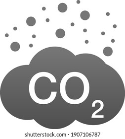 CO2 emissions vector icon. Carbon gas cloud, dioxide pollution. Global ecology exhaust emission smog concept.