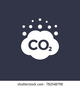 co2 emissions vector icon, carbon dioxide cloud