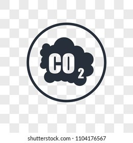 co2 emissions vector icon isolated on transparent background, co2 emissions logo concept