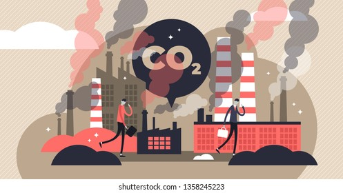 CO2 emissions vector illustration. Flat tiny air pollution person concept. Environmental danger from electricity industry factories. Greenhouse warming effect in city. Toxic smoke from chimney exhaust