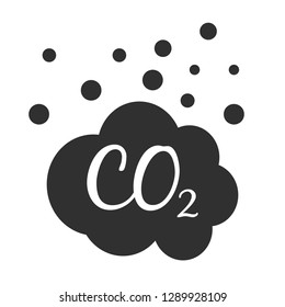 CO2 gas emission icon on a white background. Isolated CO2 gas emission symbol with flat style.