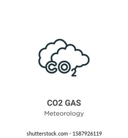 Co2 gas outline vector icon. Thin line black co2 gas icon, flat vector simple element illustration from editable meteorology concept isolated on white background