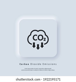 Co2 icon. Carbon Dioxide Emissions icon or logo. co2 emissions. Vector EPS 10. Neumorphic UI UX white user interface web button. Neumorphism
