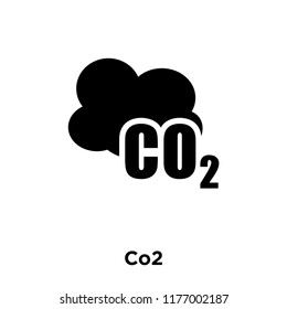 Co2 icon vector isolated on white background, logo concept of Co2 sign on transparent background, filled black symbol