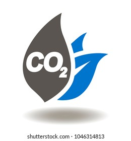 CO2 Leaf Icon Vector. Ecology, Climate, Safety Nature, Emissions Environment Illustration. Carbon Dioxide Pollution Logo. Eco Symbol.
