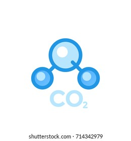 co2 molecule, carbon dioxide icon isolated on white