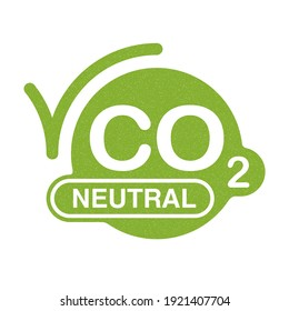 CO2 neutral green floral emblem, net zero carbon footprint - carbon emissions free no air atmosphere pollution industrial production eco-friendly isolated sign in creative decoration