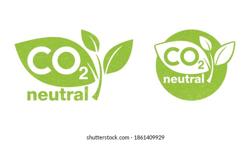 CO2 neutral green rough textured stamp - carbon emissions free (no air atmosphere pollution) industrial production eco-friendly isolated sign
