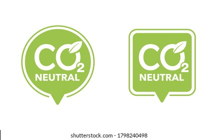 CO2 neutral green stamp (net zero carbon footprint) - carbon emissions free (no air atmosphere pollution) industrial production eco-friendly isolated sign in creative decoration