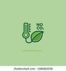 CO2 Neutral Green Vector Icon Illustration. CO2 Neutral Logo with Green Natural Leaf
