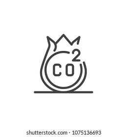 CO2 outline icon. linear style sign for mobile concept and web design. Air emissions line vector icon. Symbol, logo illustration. Pixel perfect vector graphics