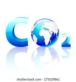 CO2 pollution in 3D with globe