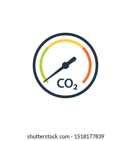 CO2 reduction gauge icon. Clipart image isolated on white background