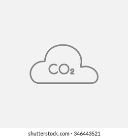 CO2 sign in cloud line icon for web, mobile and infographics. Vector dark grey icon isolated on light grey background.