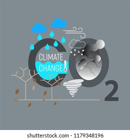 CO2 typographic design with climate icon. Environmental effect of increased CO2. Climate change concept. Vector illustration.