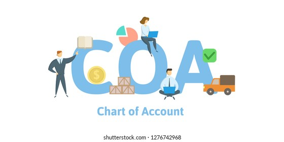 COA, Chart of Account. Concept with keywords, letters and icons. Colored flat vector illustration. Isolated on white background.