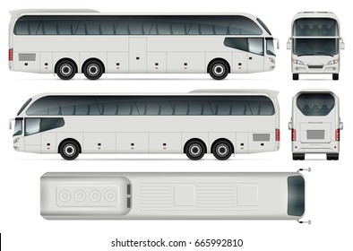 Coach bus vector mock-up. Isolated template of tourist transport on white background. Vehicle branding mockup. View from side, front, back and top. All elements in the groups on separate layers.