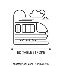 Coach car linear icon. Modern railroad transportation thin line customizable illustration. Contour symbol. Express commuter train, intercity travel. Vector isolated outline drawing. Editable stroke