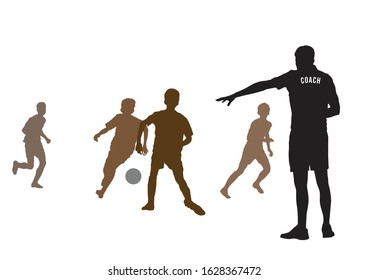 Coach coaching football team on illustration graphic vector