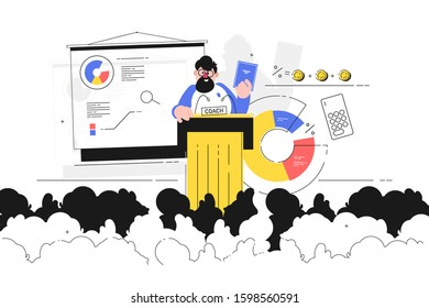 Coach giving lecture vector illustration. Business trainer discussing diagram with listeners. Bearded man holding biz tutorial and talking about ways to make money increasing income flat style concept