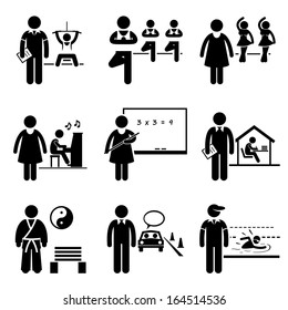 Coach Instructor Trainer Teacher Jobs Occupations Careers - Gym, Yoga, Dancing, Music, School Teacher, Home Tutor, Martial Arts, Driving, Swimming - Stick Figure Pictogram