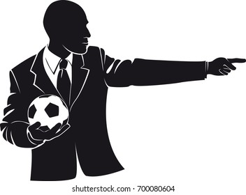 Coach with a soccer ball. Vector silhouette on white