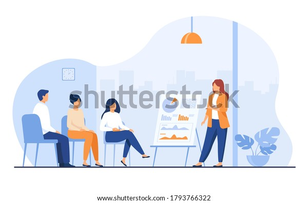 Coach speaking before audience. Mentor presenting charts and reports, Employees meeting at business training, seminar or conference. Vector illustration for presentation, lecture, education concept