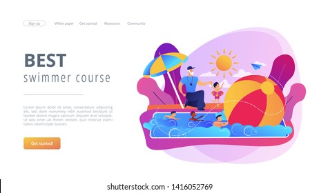 Coach teaching and children learning to swim in the pool in summer camp, tiny people. Swim camp, open water trainings, best swimmer course concept. Website homepage landing web page template.