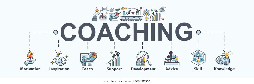 Coaching banner web icon for training and success, motivation, inspiration, teaching, coach, learning, knowledge, support and advice. Minimal vector infographic.